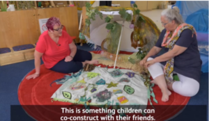 Video image showing two ladies explaining ways to make dens